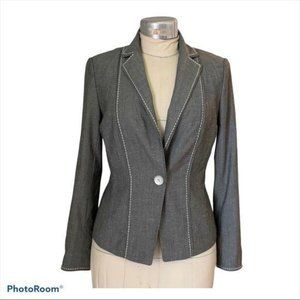 W by WORTH Blazer Fitted One Button Silk Wool Gray